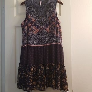 Xhilaration navy mixed pattern dress